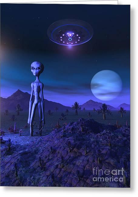 A Grey Alien Located On Its Homeworld Greeting Card by Mark Stevenson