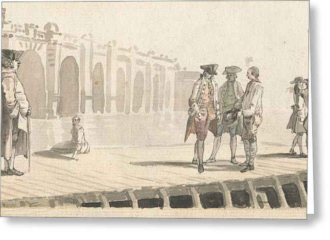 A Group Of Men On Westminster Pier Greeting Card by Paul Sandby