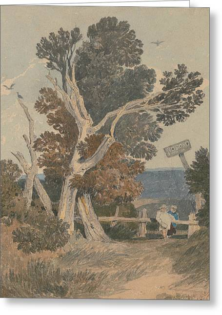 A Group Of Trees By A Fence Greeting Card by John Sell Cotman