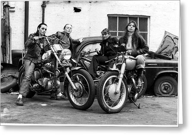 A Group Of Women Associated With The Hells Angels, 1973. Greeting Card