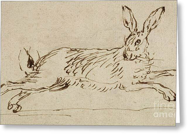 A Hare Running, With Ears Pricked  Greeting Card by James Seymour