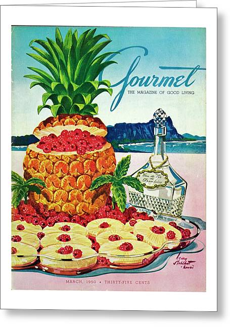 A Hawaiian Scene With Pineapple Slices Greeting Card