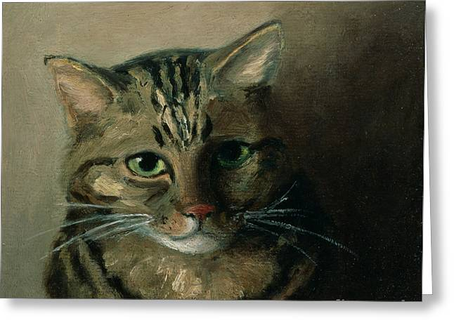 A Head Study Of A Tabby Cat Greeting Card by Louis Wain