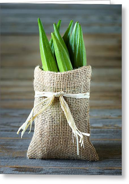 A Heap Of Okra Or Lady's Fingers In A Bag Greeting Card by Elena Riim