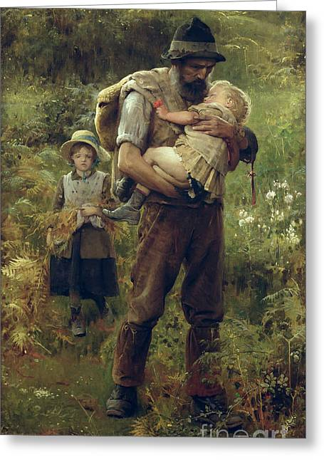Daddy Greeting Cards - A Heavy Burden Greeting Card by Arthur Hacker