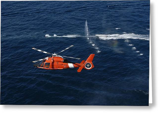 A Helicopter Crew Trains Off The Coast Greeting Card
