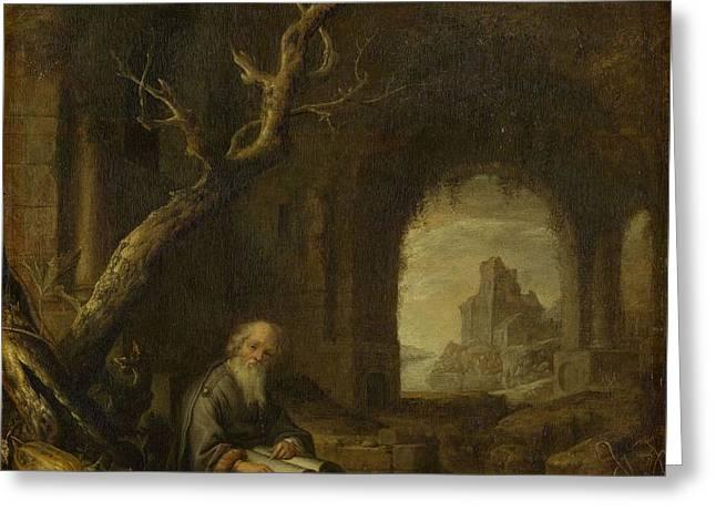 A Hermit In A Ruin, Jan Adriaensz. Van Staveren, 1650 - 1668 Greeting Card by Celestial Images