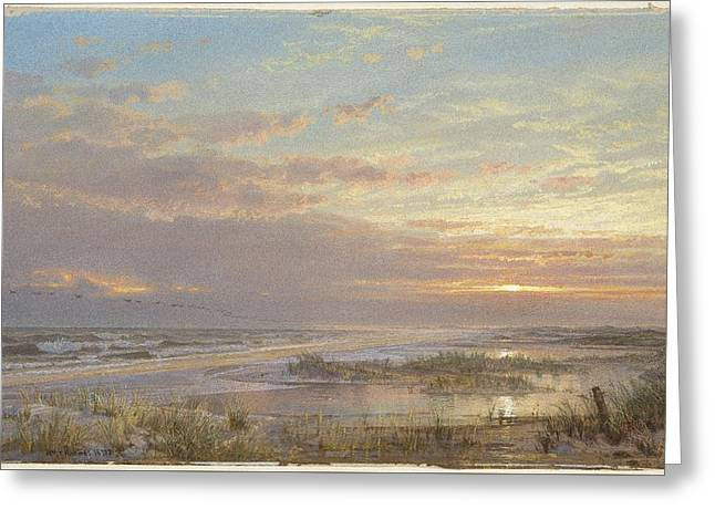 A High Tide At Atlantic City Greeting Card by William Trost Richards