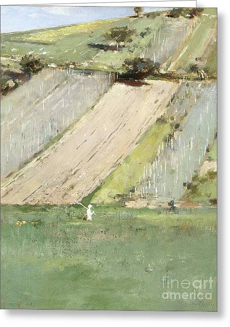 A Hillside, Giverny, 1887  Greeting Card by Theodore Robinson