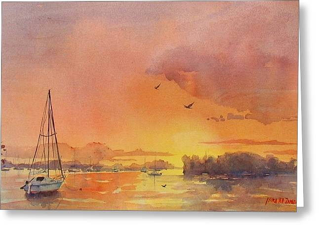 Best Sellers -  - Yellow Sailboats Greeting Cards - A Hingham Sunset Greeting Card by Laura Lee Zanghetti