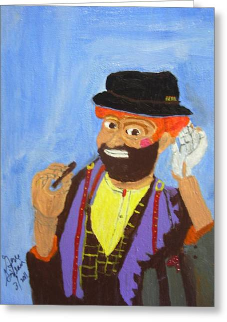 Greeting Card featuring the painting A Hobo Clown by Swabby Soileau