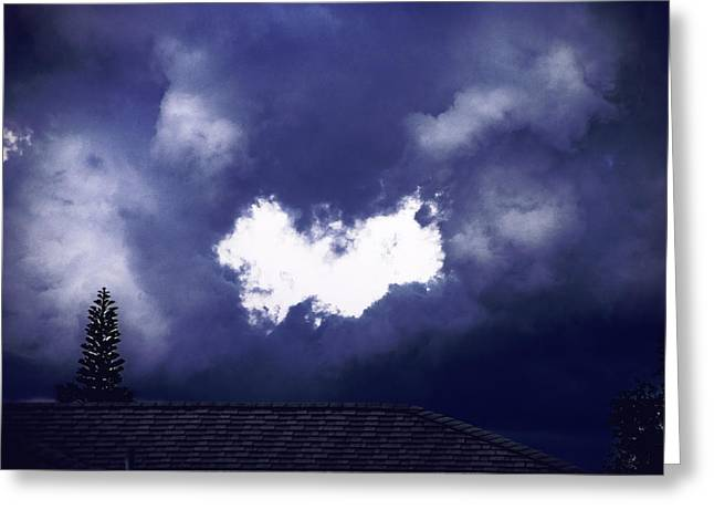 A Hole In A Cloud Greeting Card by Michael Frizzell