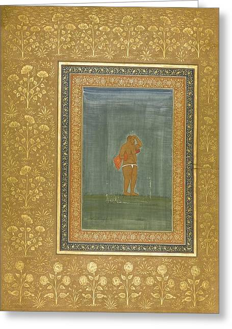 a Holy Man Standing and Scratching his Head Greeting Card by Celestial Images