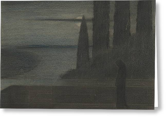 A Hooded Figure In A Landscape Greeting Card by Herbert Crowley