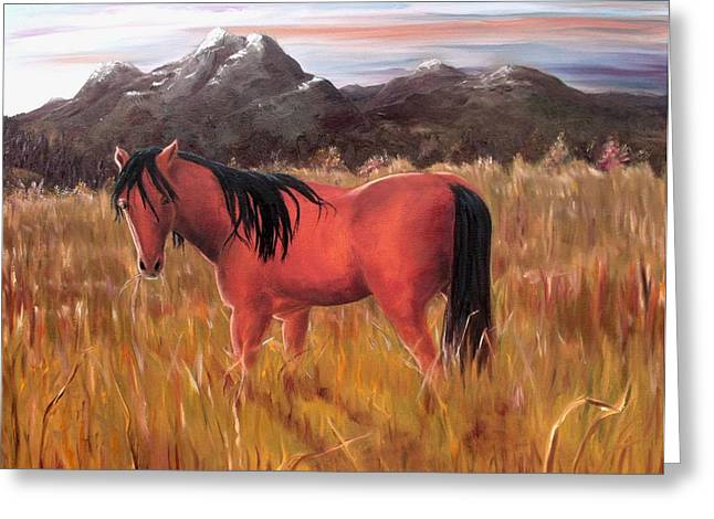 Greeting Card featuring the painting A Horse Of Course by Diane Daigle