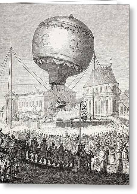 A Hot Air Balloon Ascends In Paris Greeting Card by Vintage Design Pics