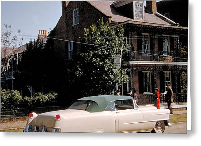 A Hot Date In A Pink Caddy Greeting Card by Jerry McElroy