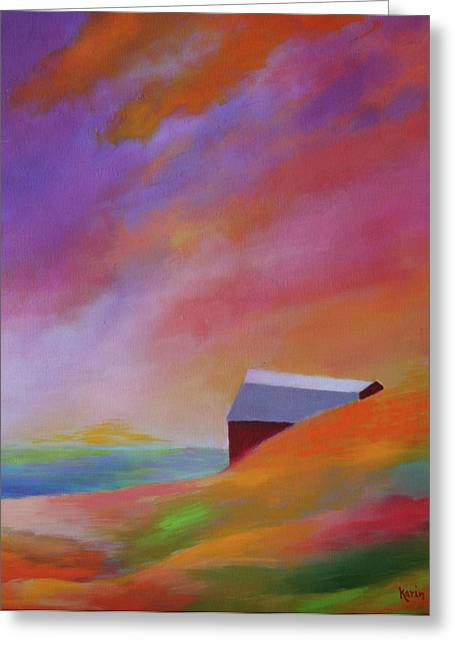 Greeting Card featuring the painting A Hot Day In Michigan by Karin Eisermann