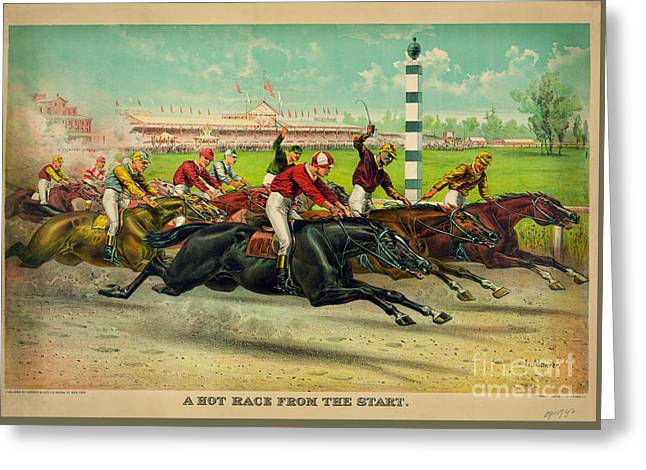 A Hot Race From The Start Greeting Card