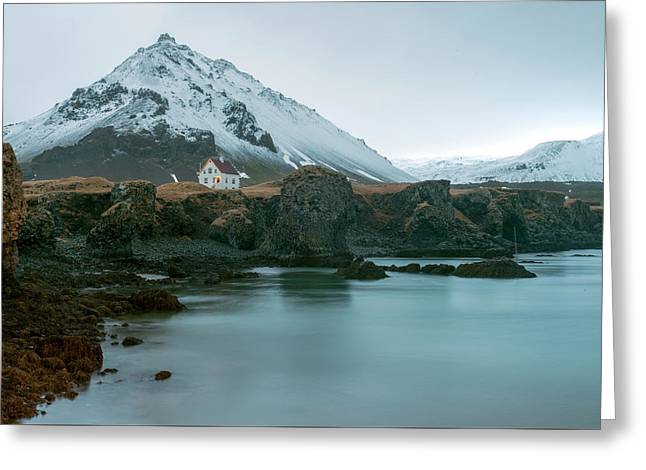 Greeting Card featuring the photograph A House Near Snaefellsjokull Mountain, Iceland by Dubi Roman