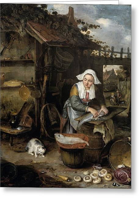 A Housewife In An Inner Courtyard Cleaning Fish Greeting Card by Hendrik Potuyl
