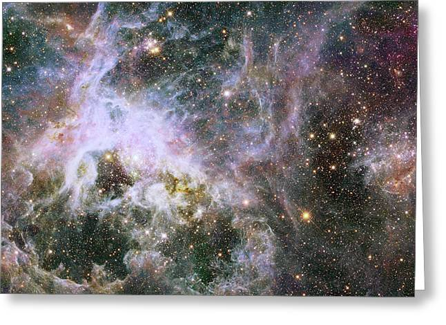 Greeting Card featuring the photograph A Hubble Infrared View Of The Tarantula Nebula by Nasa