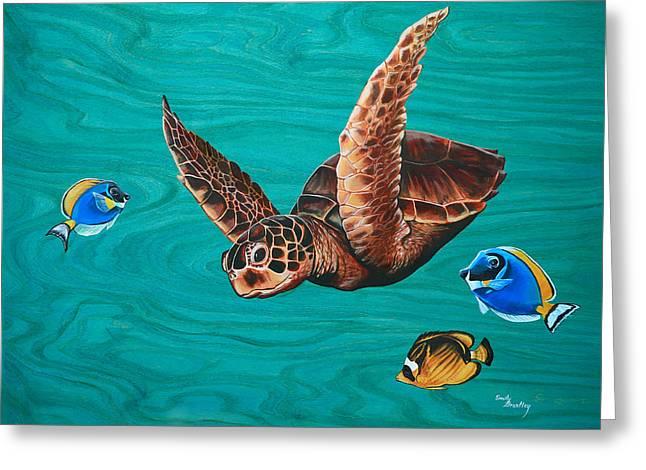 A Hui Hou - Sea Turtle Greeting Card by Emily Brantley