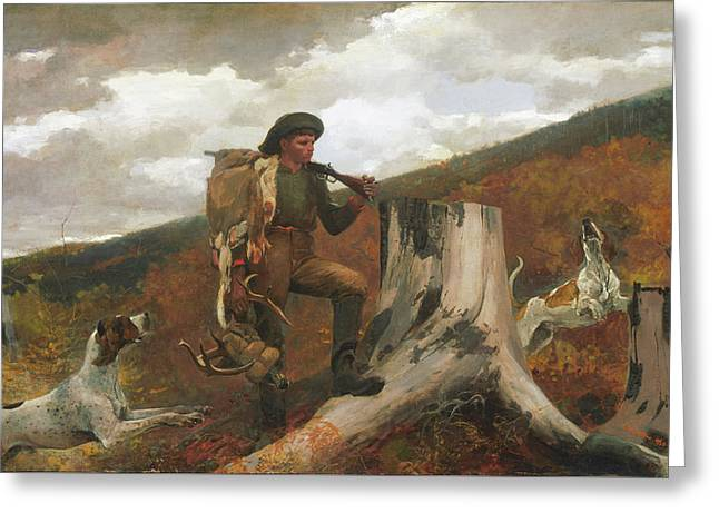 Greeting Card featuring the painting A Huntsman And Dogs - 1891 by Winslow Homer