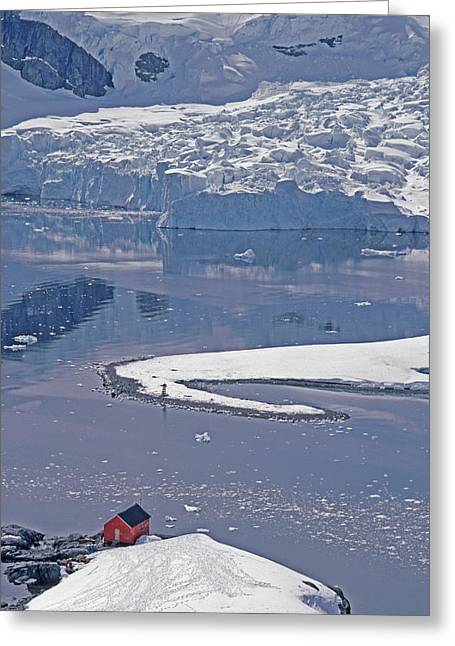 A Hut And Glacier Icefall At Argentinas Greeting Card by Gordon Wiltsie