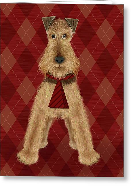 A Is  For Airedale Greeting Card by Valerie Drake Lesiak