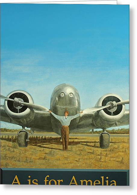 Aviator Greeting Cards - A is for Amelia Greeting Card by Laurie Stewart