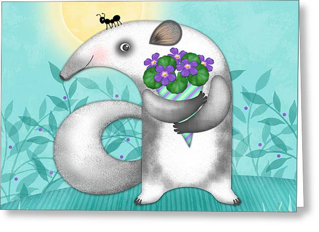 A Is For Anteater Greeting Card by Valerie Drake Lesiak