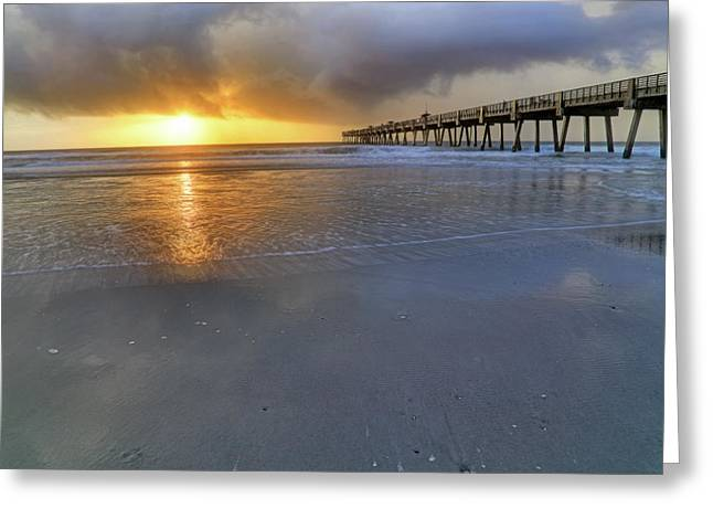 A Jacksonville Beach Sunrise - Florida - Ocean - Pier  Greeting Card