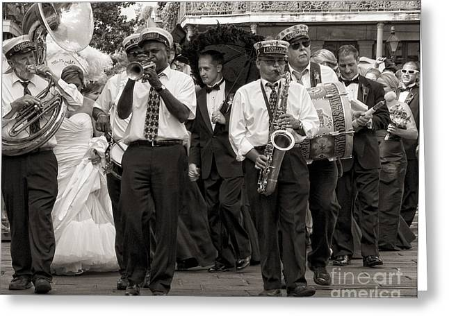 Marching Band Greeting Cards - A Jazz Wedding in New Orleans Greeting Card by Kathleen K Parker