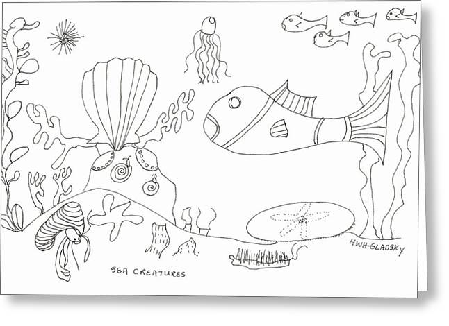 A Jellie And Sea Creatures Greeting Card