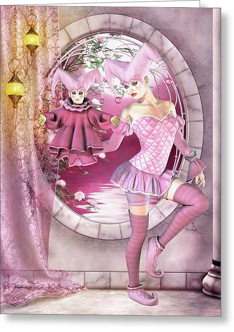 A Jester Wears Pink Greeting Card