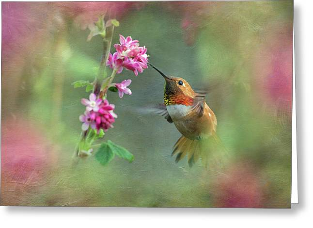 Greeting Card featuring the photograph A Jewel In The Flowers by Angie Vogel