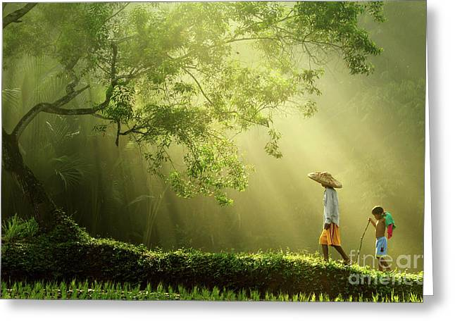A Journey To The Light Greeting Card by Rarindra Prakarsa