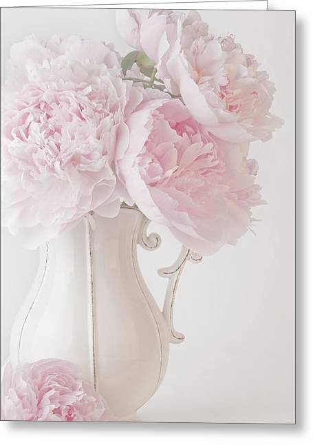 A Jug Of Soft Pink Peonies Greeting Card