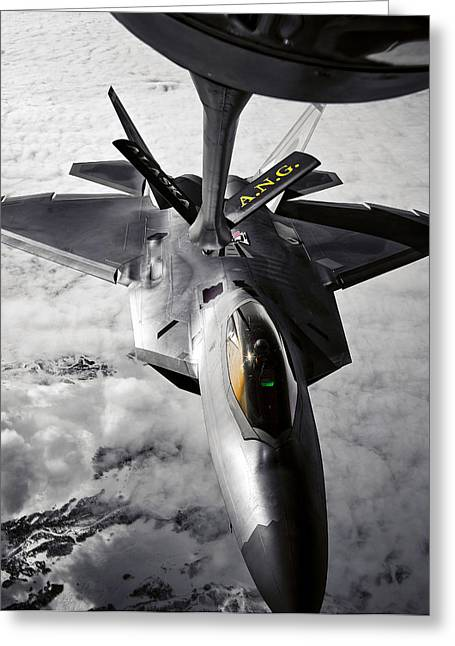 A Kc-135 Stratotanker Refuels A F-22 Greeting Card