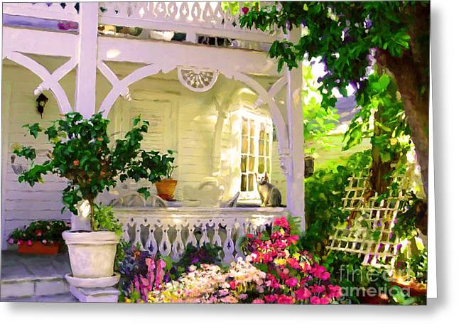 A Key West Porch Greeting Card by David  Van Hulst
