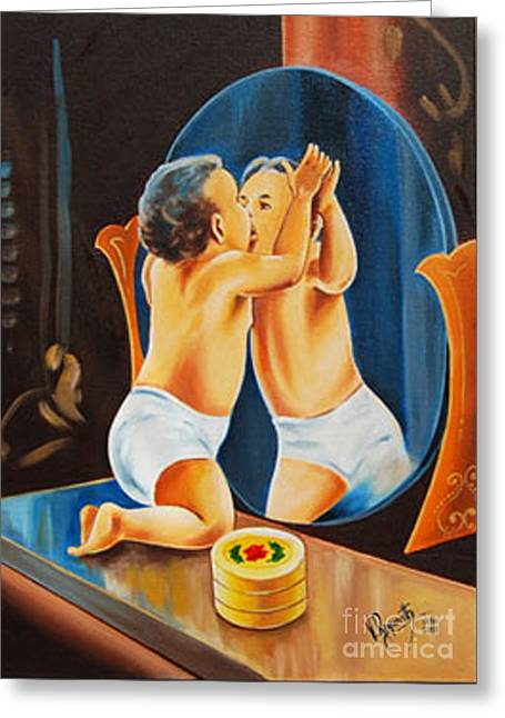 Greeting Card featuring the painting A Kiss Of Miror by Ragunath Venkatraman