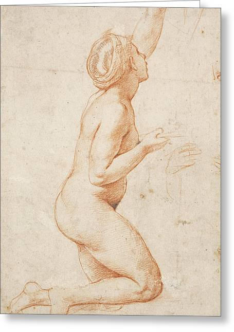 A Kneeling Nude Woman With Her Left Arm Raised Greeting Card by Raphael