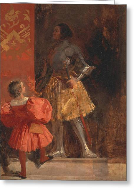 A Knight And Page  Greeting Card by Richard Parkes Bonington