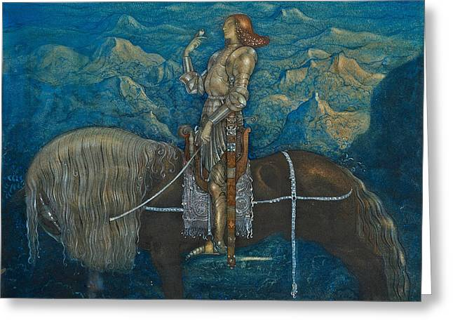 A Knight Rode On Greeting Card by John Bauer