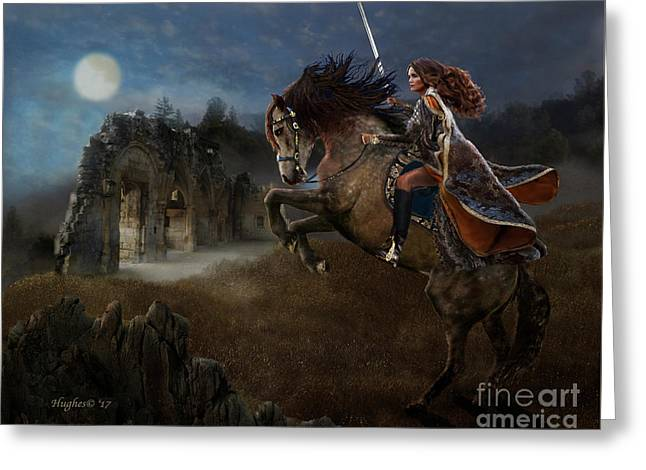 Greeting Card featuring the digital art A Knight's Lady by Melinda Hughes-Berland
