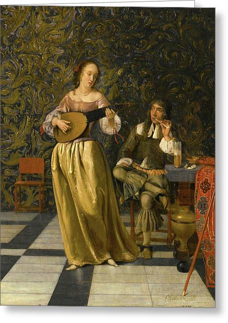 A Lady Playing A Lute With A Gentleman Seated At A Table In An Interior Greeting Card by Eglon Hendrik