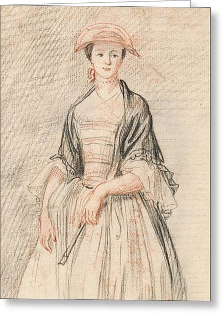 A Lady With A Fan Greeting Card by Paul Sandby