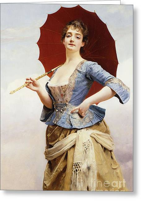 A Lady With A Parasol Greeting Card by Gustave Jean Jacquet