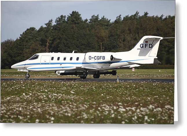 Private Jet Greeting Cards - A Learjet Of Gfd With Electronic Greeting Card by Timm Ziegenthaler